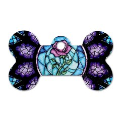 Cathedral Rosette Stained Glass Beauty And The Beast Dog Tag Bone (Two Sides)