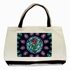 Cathedral Rosette Stained Glass Beauty And The Beast Basic Tote Bag (Two Sides)