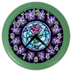Cathedral Rosette Stained Glass Beauty And The Beast Color Wall Clocks