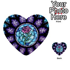 Cathedral Rosette Stained Glass Beauty And The Beast Multi-purpose Cards (Heart)