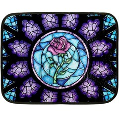 Cathedral Rosette Stained Glass Beauty And The Beast Double Sided Fleece Blanket (Mini)