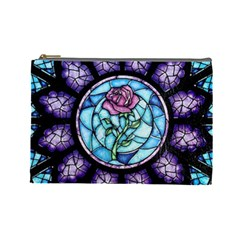 Cathedral Rosette Stained Glass Beauty And The Beast Cosmetic Bag (Large)