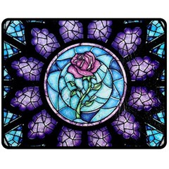 Cathedral Rosette Stained Glass Beauty And The Beast Fleece Blanket (Medium)