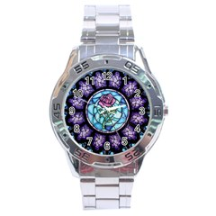 Cathedral Rosette Stained Glass Beauty And The Beast Stainless Steel Analogue Watch