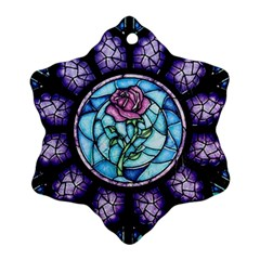 Cathedral Rosette Stained Glass Beauty And The Beast Snowflake Ornament (2-Side)