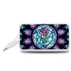 Cathedral Rosette Stained Glass Beauty And The Beast Portable Speaker (White)