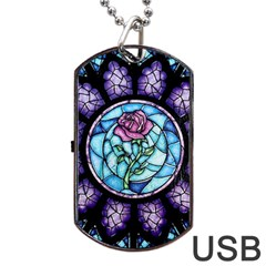 Cathedral Rosette Stained Glass Beauty And The Beast Dog Tag Usb Flash (one Side)