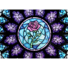 Cathedral Rosette Stained Glass Beauty And The Beast Birthday Cake 3D Greeting Card (7x5)
