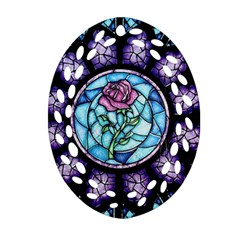 Cathedral Rosette Stained Glass Beauty And The Beast Oval Filigree Ornament (2-Side)