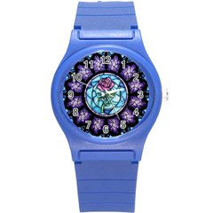 Cathedral Rosette Stained Glass Beauty And The Beast Round Plastic Sport Watch (S)