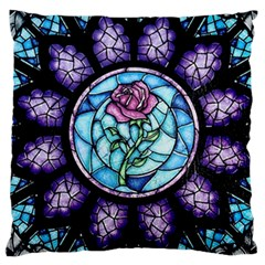 Cathedral Rosette Stained Glass Beauty And The Beast Large Cushion Case (Two Sides)