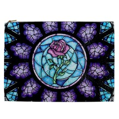 Cathedral Rosette Stained Glass Beauty And The Beast Cosmetic Bag (XXL)