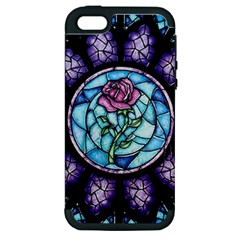 Cathedral Rosette Stained Glass Beauty And The Beast Apple iPhone 5 Hardshell Case (PC+Silicone)