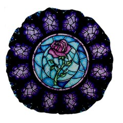 Cathedral Rosette Stained Glass Beauty And The Beast Large 18  Premium Round Cushions
