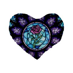 Cathedral Rosette Stained Glass Beauty And The Beast Standard 16  Premium Heart Shape Cushions