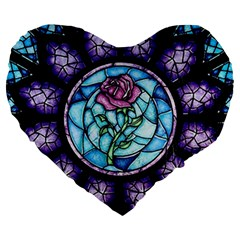 Cathedral Rosette Stained Glass Beauty And The Beast Large 19  Premium Heart Shape Cushions