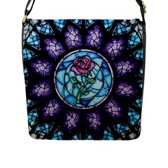 Cathedral Rosette Stained Glass Beauty And The Beast Flap Messenger Bag (L)