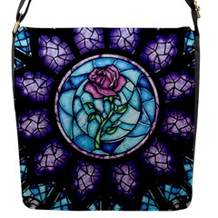 Cathedral Rosette Stained Glass Beauty And The Beast Flap Messenger Bag (S)