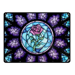 Cathedral Rosette Stained Glass Beauty And The Beast Double Sided Fleece Blanket (Small)