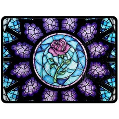 Cathedral Rosette Stained Glass Beauty And The Beast Double Sided Fleece Blanket (Large)