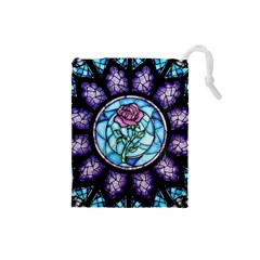 Cathedral Rosette Stained Glass Beauty And The Beast Drawstring Pouches (Small)