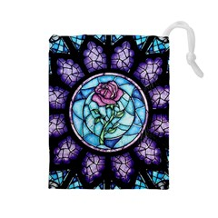 Cathedral Rosette Stained Glass Beauty And The Beast Drawstring Pouches (Large)