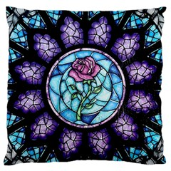 Cathedral Rosette Stained Glass Beauty And The Beast Large Flano Cushion Case (Two Sides)