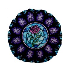Cathedral Rosette Stained Glass Beauty And The Beast Standard 15  Premium Flano Round Cushions