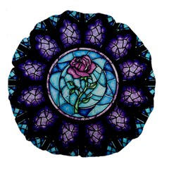Cathedral Rosette Stained Glass Beauty And The Beast Large 18  Premium Flano Round Cushions