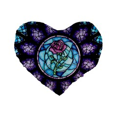 Cathedral Rosette Stained Glass Beauty And The Beast Standard 16  Premium Flano Heart Shape Cushions