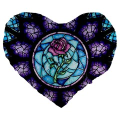 Cathedral Rosette Stained Glass Beauty And The Beast Large 19  Premium Flano Heart Shape Cushions