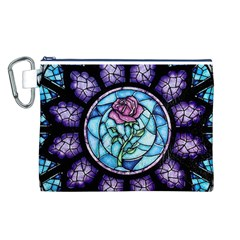 Cathedral Rosette Stained Glass Beauty And The Beast Canvas Cosmetic Bag (L)
