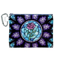 Cathedral Rosette Stained Glass Beauty And The Beast Canvas Cosmetic Bag (XL)