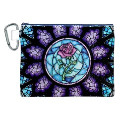 Cathedral Rosette Stained Glass Beauty And The Beast Canvas Cosmetic Bag (XXL)