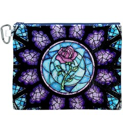 Cathedral Rosette Stained Glass Beauty And The Beast Canvas Cosmetic Bag (XXXL)