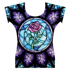 Cathedral Rosette Stained Glass Beauty And The Beast Women s Cap Sleeve Top