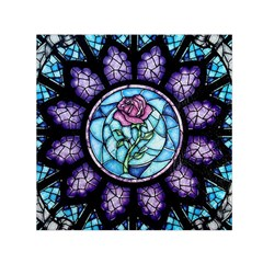 Cathedral Rosette Stained Glass Beauty And The Beast Small Satin Scarf (Square)