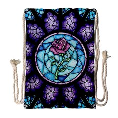 Cathedral Rosette Stained Glass Beauty And The Beast Drawstring Bag (Large)