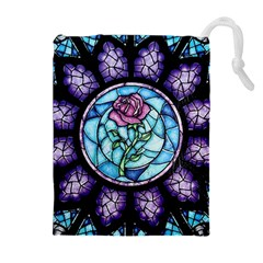Cathedral Rosette Stained Glass Beauty And The Beast Drawstring Pouches (Extra Large)