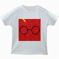 Glasses And Lightning Glitter Kids White T Shirts
