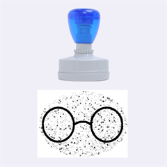 Glasses And Lightning Glitter Rubber Oval Stamps