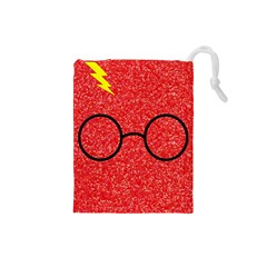 Glasses And Lightning Glitter Drawstring Pouches (small)