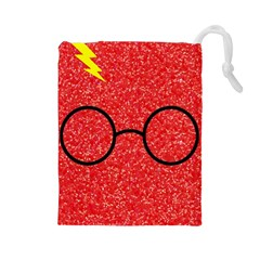 Glasses And Lightning Glitter Drawstring Pouches (large)