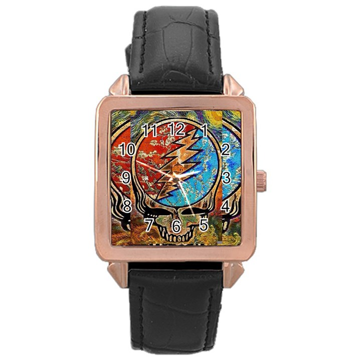 Grateful Dead Rock Band Rose Gold Leather Watch