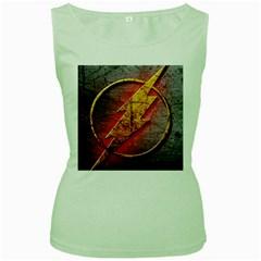 Grunge Flash Logo Women s Green Tank Top