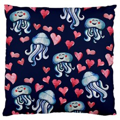 Jellyfish Love Large Flano Cushion Case (two Sides)