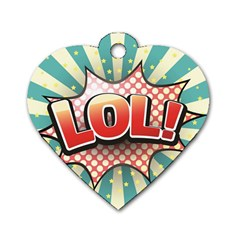Lol Comic Speech Bubble Vector Illustration Dog Tag Heart (one Side)