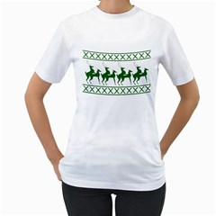 Humping Reindeer Ugly Christmas Women s T Shirt (white) (two Sided)