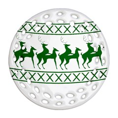 Humping Reindeer Ugly Christmas Ornament (round Filigree)