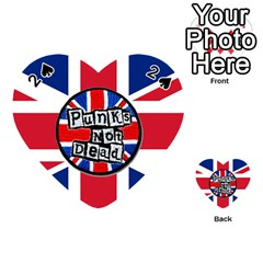 Punk Not Dead Music Rock Uk United Kingdom Flag Playing Cards 54 (heart)